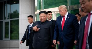 President Trump described his chemistry with the North Korean leader, Kim Jong-un, to the journalist Bob Woodward. Photograph: Erin Schaff/The New York Times