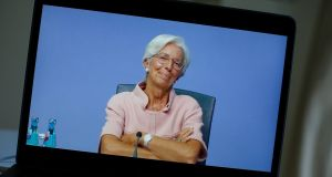 A laptop displays Christine Lagarde, president of the European Central Bank (ECB), during a live stream video of the central bank's virtual rate decision news conference in Frankfurt on Thursday. Photograph: Bloomberg
