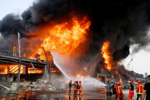 BEIRUT: Lebanese firefighters try to extinguish a fire at Port of Beirut, Lebanon. The cause of the fire was not immediately known. Photograph: Wael Hamzeh/EPA