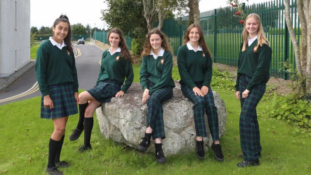Fifth year Salerno Secondary School, Galway students wearing the newer trouser and older skirt school uniforms. From left: Ria Banerjee, Leah Ruane, Síofra McCormack, Cliodhna McDonald and Sarah Casserly. Photograph: Joe O'Shaughnessy