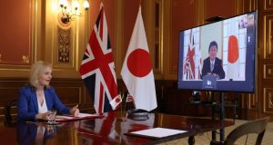 British secretary of state for international Trade Liz Truss  during a video conference call with Japan's foreign minister Motegi Toshimitsu.