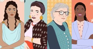 Illustrations from The Philosopher Queens:  Diotima, Simone de Beauvoir, Mary Warnock and Anita L Allen. Images: Emmy Smith/The Philosopher Queens