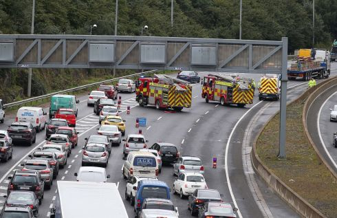 M50: The scene on the Dundrum M50 bypass following an incident on Friday evening. Photograph: Stephen Collins/Collins Photos