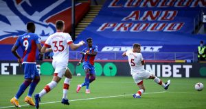 Crystal Palace's Wilfried Zaha scores against Southampton at Selhurst Park on Saturday afternoon. Photograph: PA