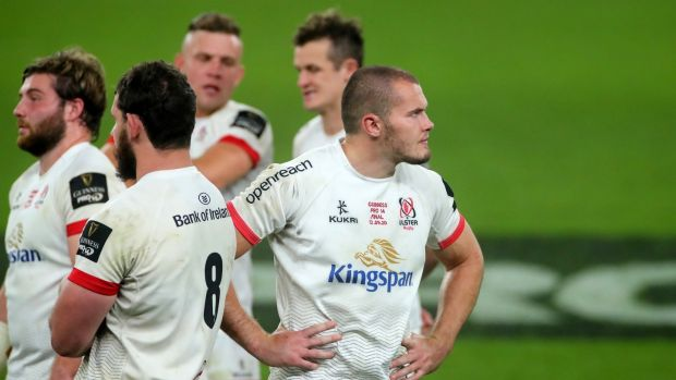 A dejected Jacob Stockdale after Ulster's defeat to Leinster. Photograph: James Crombie/Inpho