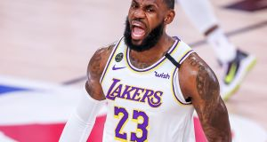 Los Angeles Lakers' LeBron James during the Western Conference semi-final playoff game five against the Houston Rockets. Photograph: EPA