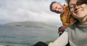 Caretakers Annie Birney and Eoin Boyle on the Great Blasket Island