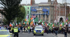 Protesters on D'Olier Street in Dublin on Saturday. Photograph: Dara Mac Dónaill/ The Irish Times