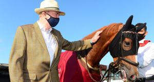 Dermot Weld with Search For Song after his victory at the Curragh. Photograph: PA