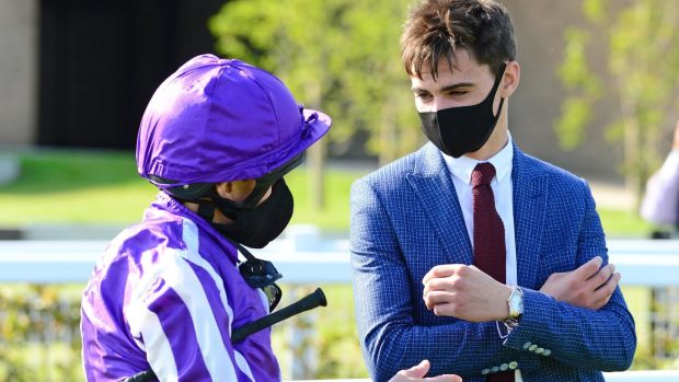 Ryan Moore with Donnacha O'Brien after winning the Moyglare Stud Stakes at the Curragh. Photograph: PA