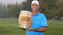 Stewart Cink celebrates his Safeway Open victory in California. Photograph:  Jed Jacobsohn/Getty