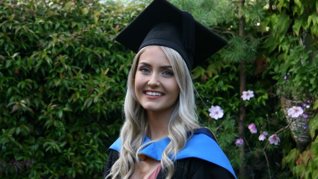 Clodagh O'Keeffe, a UCD graduate from Rathmines, Dublin, wearing a robe for her virtual graduation.