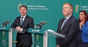 Minister for Finance Paschal Donohoe and Minister for Public Expenditure  Michael McGrath: National debt may hit 125 per cent of GNI*.  Photograph: Julien Behal