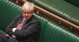 British Prime Minister Boris Johnson  in the House of Commons, London.  Photograph:  UK Parliament/Jessica Taylor/PA Wire