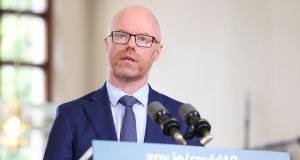 Minister for Health Stephen Donnelly at the announcement of the Government's blueprint for living with Covid-19. The Department of Health confirmed that the Minister's test for Covid-19 had come back negative. Photograph: Julien Behal/PA Wire