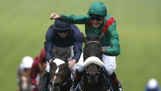 Pat Smullen riding Harzand celebrates winning the 2016 Epsom Derby. Photograph: Alan Crowhurst/Getty Images