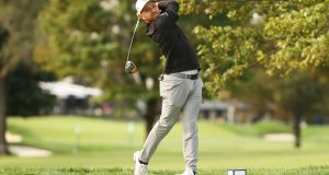 Xander Schauffele  drives from the second tee during a practice round. Photograph:  Gregory Shamus/Getty Images