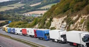 Lorries queue on the A20 near Dover in Kent after a police operation in the port resulted in traffic congestion on nearby roads and the deployment of Operation Stack which uses part of the M20 to marshal goods vehicles travelling towards the Channel. Photograph: Aaron Chown PA Wire