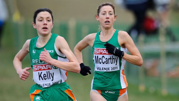 Elish Kelly running with Claire McCarthy during the 2011 European Cross-Country Championships in Velenje, Slovenia. Photograph: Sasa Pahic Szabo/Inpho
