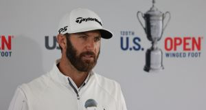 Dustin Johnson:  moved into top spot in the world rankings  with  wins at the Travelers and  Northern Trust and having lifted  the Tour Championship  is looking to contend again. Photograph: Justin Lane/EPA