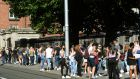 Leaving cert students protest outside the Dept. of Education in Dublin. Photograph: Dara Mac Dónaill