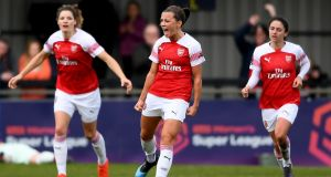 Katie McCabe celebrates scoring a goal for  Arsenal against Birmingham City. Photograph:  Alex Davidson/Getty Images