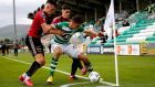 Shamrock Rovers versus Bohemians in front of largely empty stands. Photograph: Ryan Byrne/Inpho