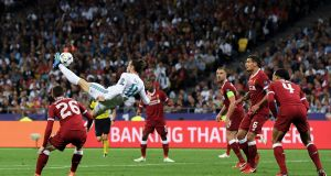 Gareth Bale scores for Real Madrid in their 2018 European Cup final win in Kiev. Photograph: David Ramos/Getty