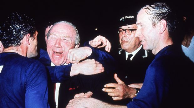 Matt Busby celebrates Manchester United's 1968 European Cup final win over Benfica. Photograph: Getty