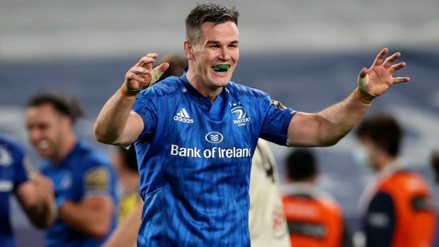 Johnny Sexton celebrates Leinster's Pro14 final win. Photograph: Billy Stickland/Inpho