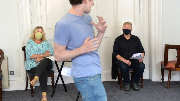 Writer Deirdre Kinahan, actor Matthew Malone and artistic director Jim Culleton during rehearsals at Fishamble for the play Embargo. Photograph: Dara Mac Dónaill