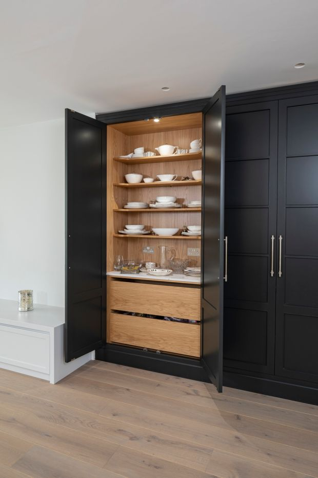 A larder will typically give 30 per cent more storage than traditional kitchen cupboards