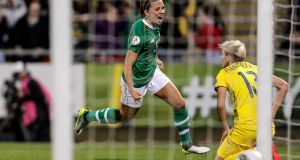 Ireland's Katie McCabe celebrates scoring her side's first goal against Ukraine in their European Championship qualifier last year. Photograph: Laszlo Geczo/Inpho