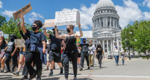 Protesters   in Madison, state capital of  Wisconsin,  in the aftermath of the  killing  of George Floyd  in police custody. Photograph: Lawrence Iles/Icon Sportswire
