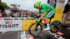Irish rider Sam Bennett wearing the best sprinter's green jersey during the 20th stage of the 107th edition of the Tour de France. Photograph: EPA