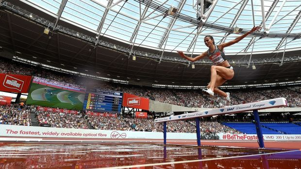 Habiba Ghribi of Tunisia competing in London in 2016. File photograph: Tom Dulat - British Athletics/British Athletics via Getty Images