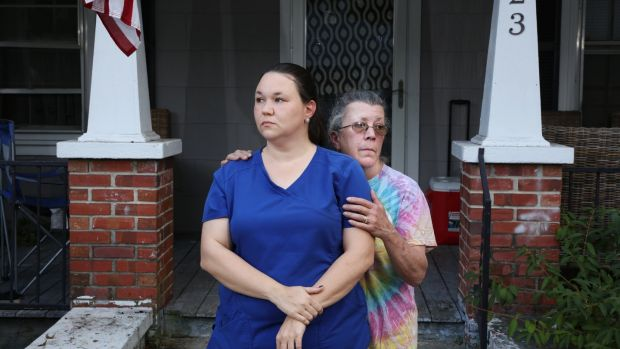 Emily Spell with her mother Susan Williams in Garland, North Carolina. Photograph: Travis Dove/ICIJ