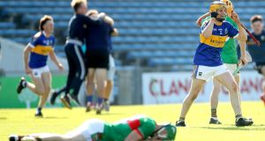 Kiladagan's Darragh Flannery celebrates at the final whistle after his team win the Tipperary hurling championship. Photograph: Inpho