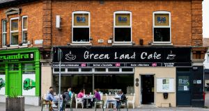 People eating outside the Green Land Cafe in Fairview, Dublin. Photograph: Tom Honan