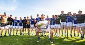 Scotstown celebrate their Monaghan SFC final win over Ballybay. Photograph:  Tommy Dickson/Inpho