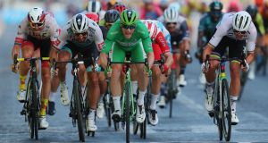 Ireland's Sam Bennett wins the final stage of the Tour de France in Paris and clinches the green jersey in the process. Photograph: Thibault Camus/AFP via Getty Images