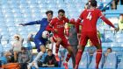 Chelsea's Kai Havertz  and Liverpool's Trent Alexander-Arnold battling for the ball  at Stamford Bridge, London. Photograph:  Matt Dunham/NMC Pool/PA Wire