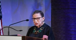 The late US supreme court justice Ruth Bader Ginsburg  at an event in New York on  April 9th, 2018. Photograph: Chang W Lee/New York Time