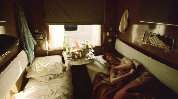 David Bowie on the Trans-Siberia Express, 1973. Photograph: Geoff MacCormack, courtesy Francesca Maffeo Gallery