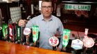 Aengus D'Arcy, owner of JJ Bowles pub in Thomondgate, Limerick,  getting ready for his first customer since lockdown. Photograph: Liam Burke/Press 22