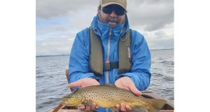 Brandon Hamber with a 1.75lb trout from the Cornamona area on Lough Corrib.