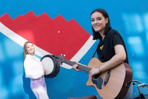 BUSKER FLEADH: At the launch of the Busker Fleadh in Temple Bar, Dublin, are performers Katie (left) and Aoife Lynch.  The free family event takes place online for the first time this year on October 3rd and 4th and is organised by Dublin City Council. Photograph: Arthur Carron
