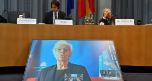 European Central Bank president Christine Lagarde speaking on screen during a meeting of the Franco-German Parliamentary Assembly. Photograph: John MacDougall/AFP