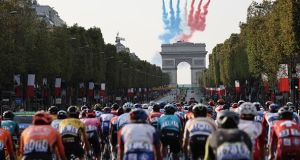 The Champs Élysées with the Arc de Triomphe in the background during the 21st and last stage of the 107th edition of the Tour de France. Photograph: Getty Images