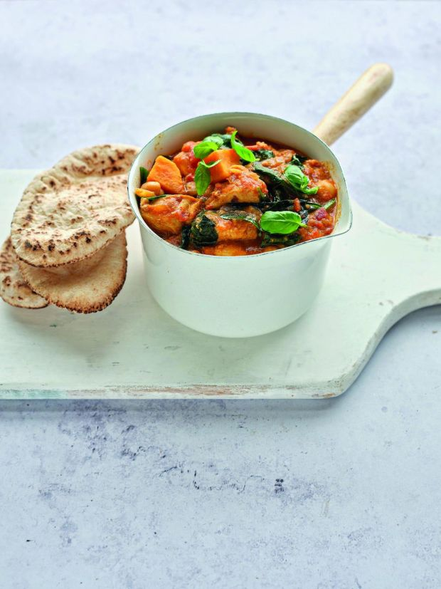 Chicken Korma with sweet potatoes and chickpeas